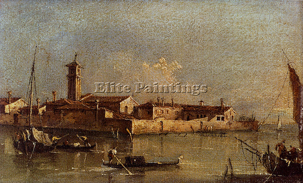 FRANCESCO GUARDI VIEW OF THE ISLAND OF SAN MICHELE NEAR MURANO VENICE ARTIST OIL