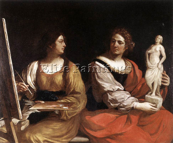 GUERCINO  ALLEGORY OF PAINTING AND SCULPTURE ARTIST PAINTING HANDMADE OIL CANVAS