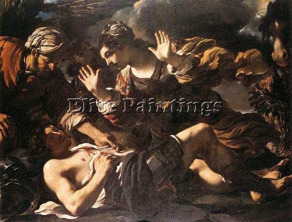 GUERCINO  ERMINA FINDS THE WOUNDED TANCRED ARTIST PAINTING REPRODUCTION HANDMADE