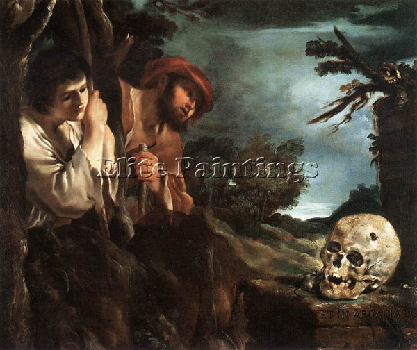 GUERCINO  ET IN ARCADIA EGO ARTIST PAINTING REPRODUCTION HANDMADE OIL CANVAS ART