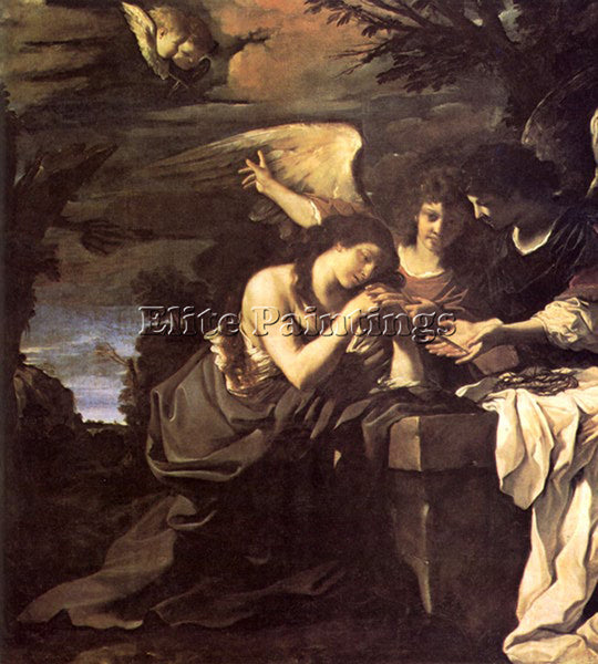 GUERCINO  MAGDALEN AND TWO ANGELS ARTIST PAINTING REPRODUCTION HANDMADE OIL DECO