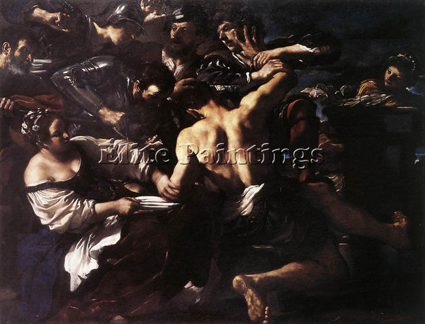 GUERCINO  SAMSON CAPTURED BY THE PHILISTINES ARTIST PAINTING HANDMADE OIL CANVAS