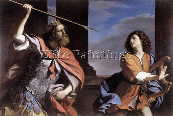 GUERCINO  SAUL ATTACKING DAVID ARTIST PAINTING REPRODUCTION HANDMADE OIL CANVAS