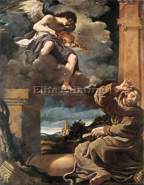 GUERCINO  ST FRANCIS WITH AN ANGEL PLAYING VIOLIN ARTIST PAINTING REPRODUCTION