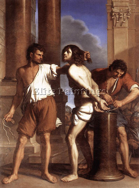GUERCINO  THE FLAGELLATION OF CHRIST ARTIST PAINTING REPRODUCTION HANDMADE OIL