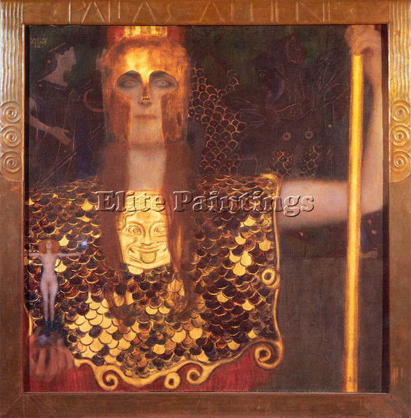 GUSTAV KLIMT PALLAS ATHENE ARTIST PAINTING REPRODUCTION HANDMADE OIL CANVAS DECO