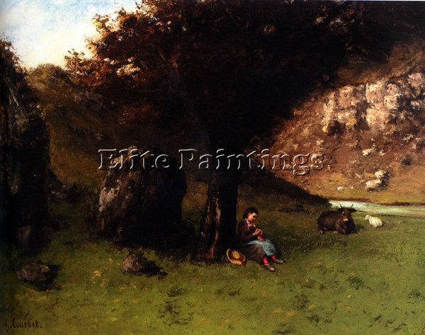 GUSTAVE COURBET LA PETITE BERGERE THE YOUNG SHEPHERDESS ARTIST PAINTING HANDMADE