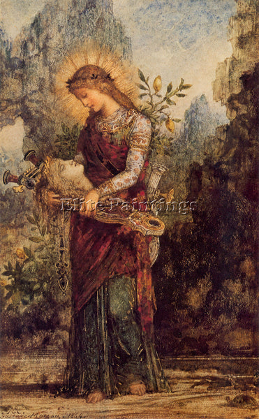 GUSTAVE MOREAU THRACIAN GIRL CARRYING THE HEAD OF ORPHEUS 1864 PAINTING HANDMADE