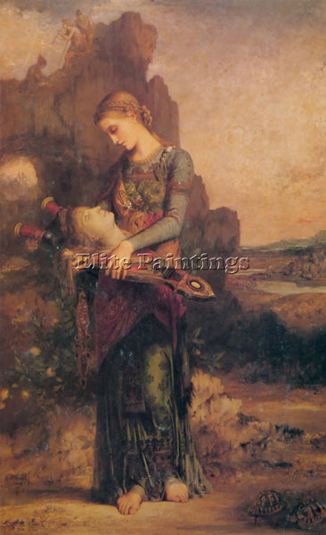 GUSTAVE MOREAU THRACIAN GIRL CARRYING HEAD OF ORPHEUS ON HIS LYRE 1865 PAINTING