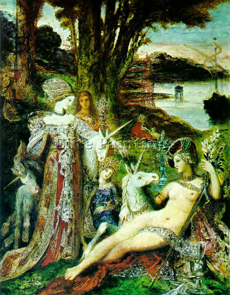 GUSTAVE MOREAU THE UNICORNS ARTIST PAINTING REPRODUCTION HANDMADE OIL CANVAS ART