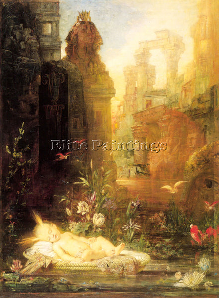 GUSTAVE MOREAU YOUNG MOSES ARTIST PAINTING REPRODUCTION HANDMADE OIL CANVAS DECO
