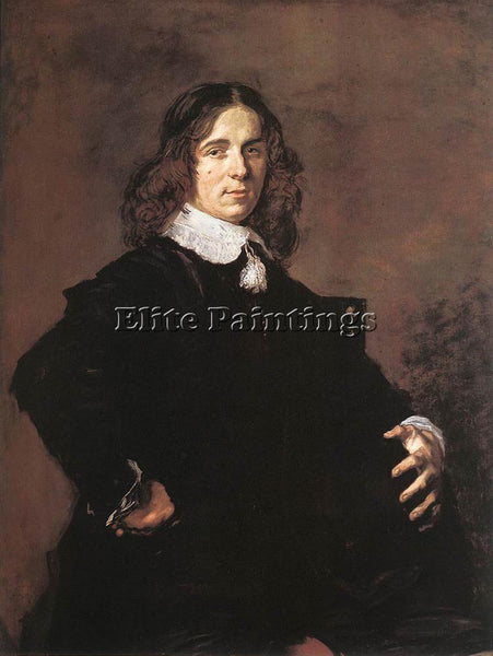 FRANS HALS PORTRAIT OF A SEATED MAN HOLDING A HAT ARTIST PAINTING REPRODUCTION