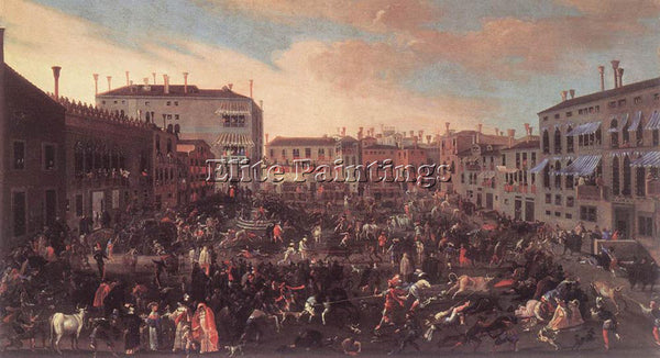 JOSEPH HEINTZ THE ELDER  YOUNGER BULL HUNT IN CAMPO SAN POLO ARTIST PAINTING OIL