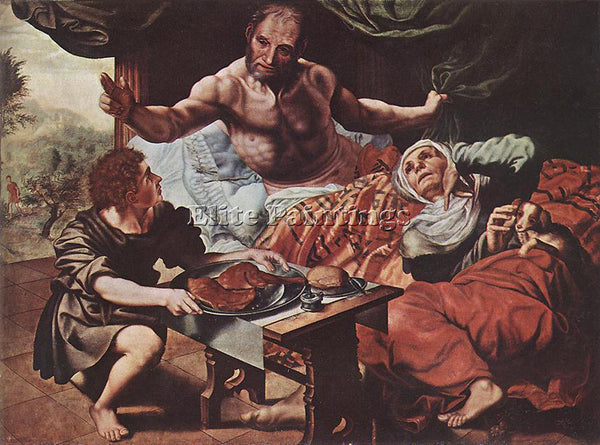 JAN SANDERS VAN HEMESSEN ISAAC BLESSING JACOB ARTIST PAINTING REPRODUCTION OIL