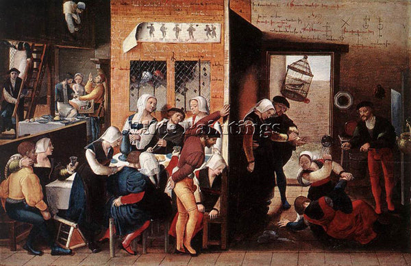 JAN SANDERS VAN HEMESSEN MERRY COMPANY ARTIST PAINTING REPRODUCTION HANDMADE OIL
