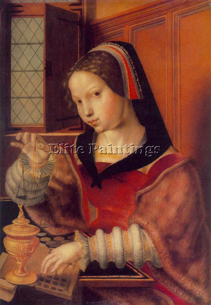 JAN SANDERS VAN HEMESSEN WOMAN WEIGHING GOLD ARTIST PAINTING HANDMADE OIL CANVAS