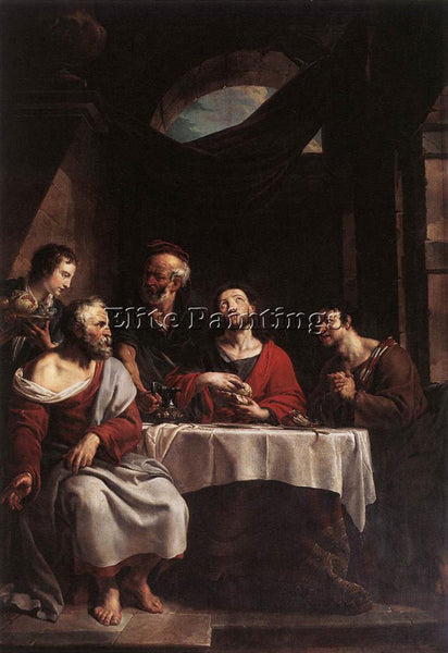 BELGIAN HERREYNS WILLEM SUPPER AT EMMAUS ARTIST PAINTING REPRODUCTION HANDMADE