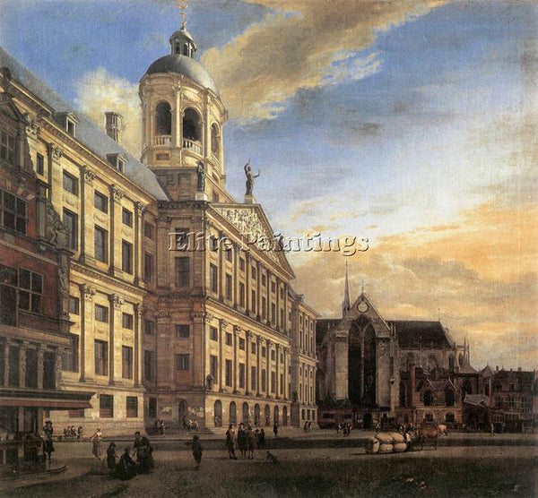 JAN VAN DER HEYDEN AMSTERDAM DAM SQUARE WITH TOWN HALL AND NIEUWE KERK PAINTING