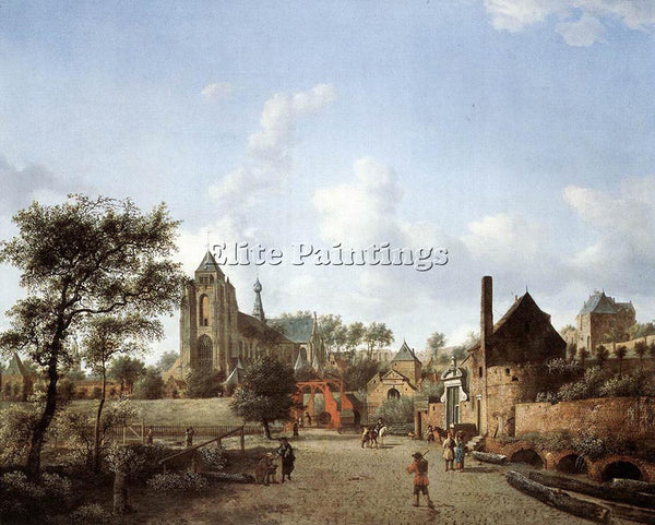 JAN VAN DER HEYDEN APPROACH TO THE TOWN OF VEERE ARTIST PAINTING HANDMADE CANVAS