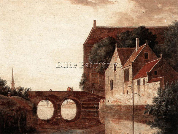 JAN VAN DER HEYDEN VIEW OF A BRIDGE ARTIST PAINTING REPRODUCTION HANDMADE OIL