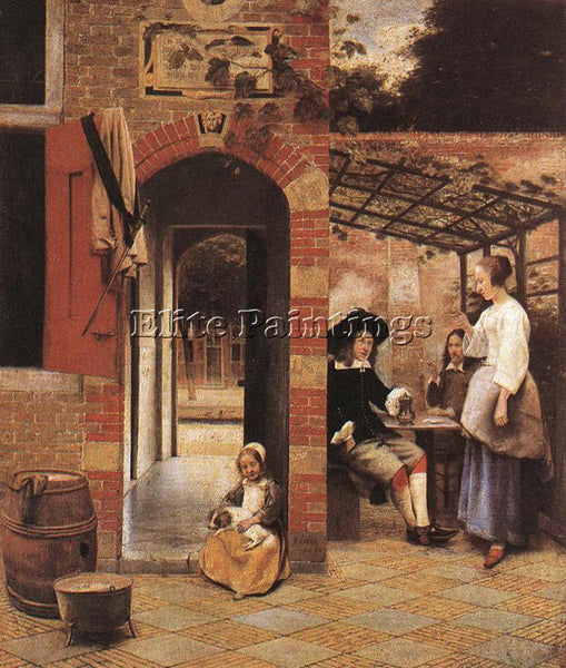 PIETER DE HOOCH DRINKERS IN THE BOWER ARTIST PAINTING REPRODUCTION HANDMADE OIL