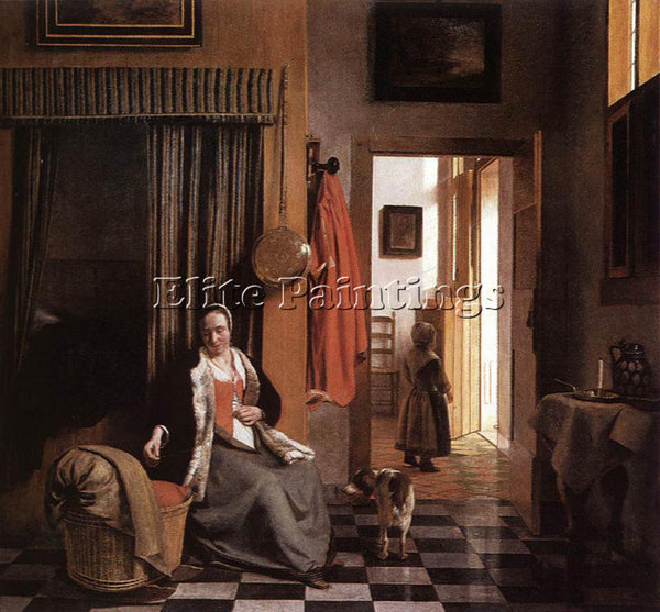 PIETER DE HOOCH MOTHER LACING HER BODICE BESIDE A CRADLE ARTIST PAINTING CANVAS