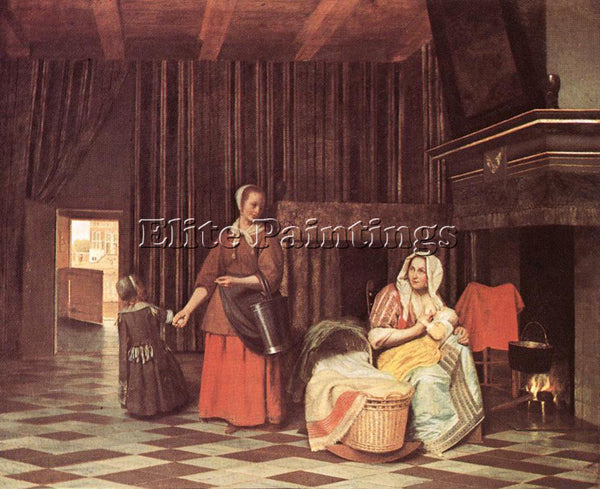 PIETER DE HOOCH SUCKLING MOTHER AND MAID ARTIST PAINTING REPRODUCTION HANDMADE
