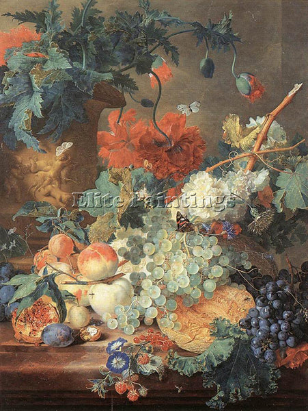 JAN VAN HUYSUM FRUIT AND FLOWERS ARTIST PAINTING REPRODUCTION HANDMADE OIL REPRO