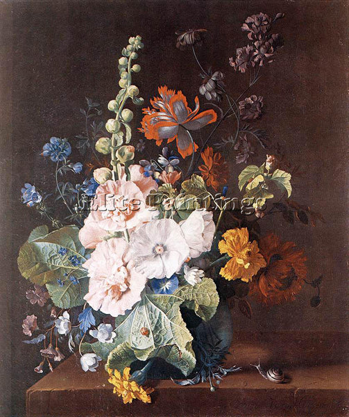 JAN VAN HUYSUM HOLYCOCKS AND OTHER FLOWERS IN A VASE ARTIST PAINTING HANDMADE