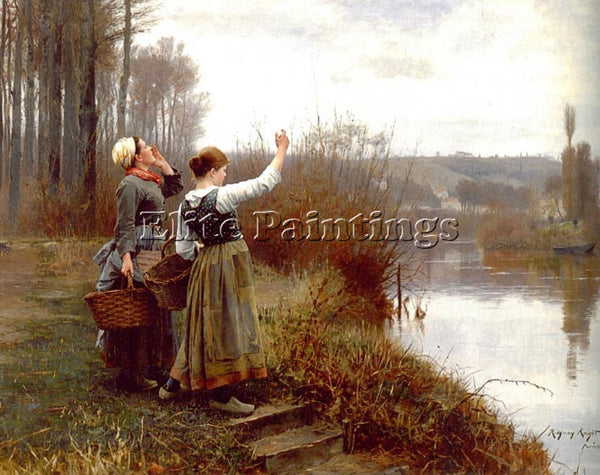 DANIEL RIDGWAY KNIGHT HAILING THE FERRYMAN ARTIST PAINTING REPRODUCTION HANDMADE