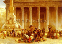 BRITISH HALSWELLE KEELEY THE QUACK DOCTOR OF THE PIAZZA ROTONDA ROME OIL CANVAS