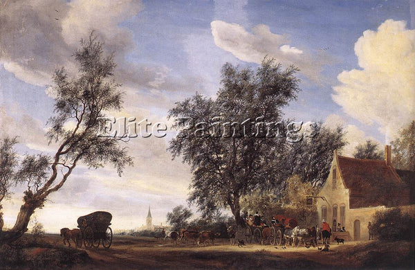 SALOMON VAN RUYSDAEL HALT AT AN INN ARTIST PAINTING REPRODUCTION HANDMADE OIL