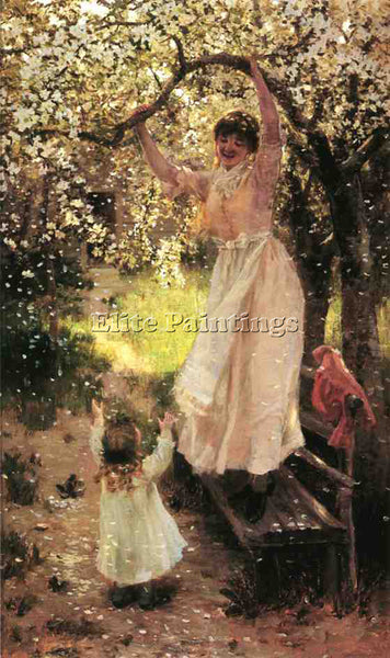 AMERICAN HAMILTON HAMILTON FALLING APPLE BLOSSOMS ARTIST PAINTING REPRODUCTION