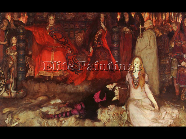 EDWIN AUSTIN ABBEY HAMLET PLAY SCENE ARTIST PAINTING REPRODUCTION HANDMADE OIL