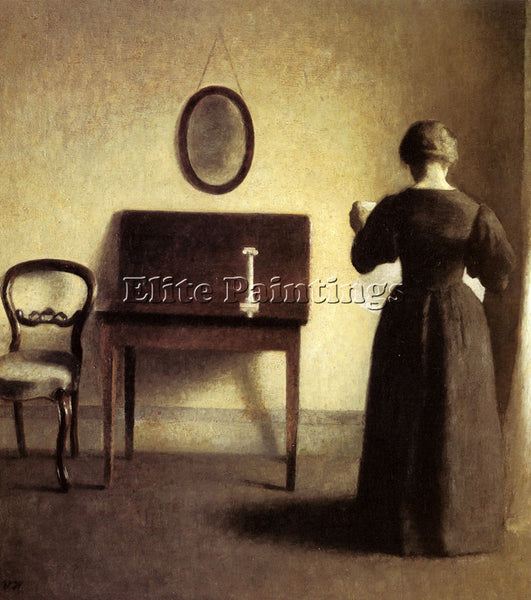 DENMARK HAMMERSHOI VILHELM A LADY READING IN AN INTERIOR ARTIST PAINTING CANVAS