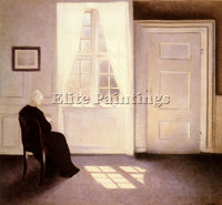 DENMARK HAMMERSHOI VILHELM A WOMAN READING BY A WINDOW ARTIST PAINTING HANDMADE