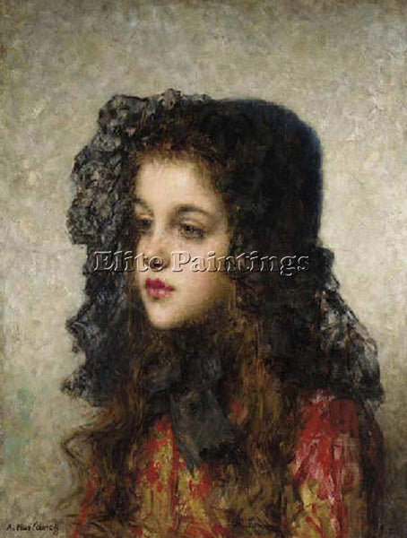 ALEXEI ALEXEIVICH HARLAMOFF LITTLE GIRL WITH VEIL ARTIST PAINTING REPRODUCTION