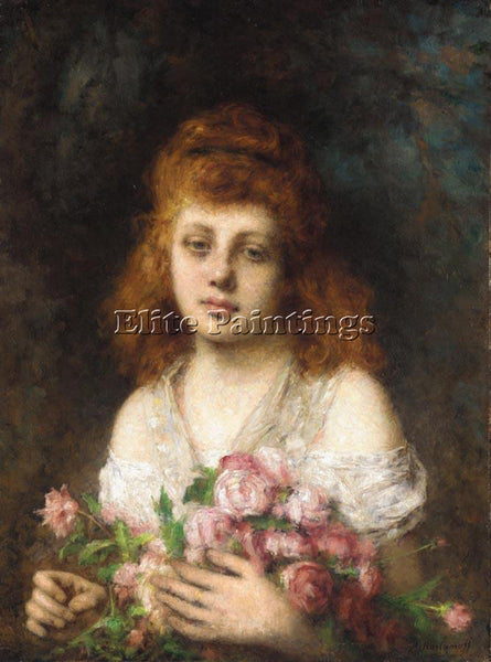 ALEXEI ALEXEIVICH HARLAMOFF AUBURN HAIRED BEAUTY WITH BOUQUET OF ROSES PAINTING