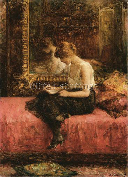 ALEXEI ALEXEIVICH HARLAMOFF LITERARY PURSUITS OF A YOUNG LADY PAINTING HANDMADE