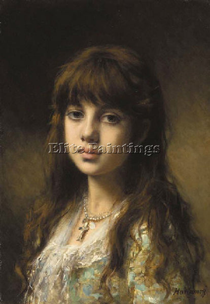 ALEXEI ALEXEIVICH HARLAMOFF LITTLE GIRL ARTIST PAINTING REPRODUCTION HANDMADE