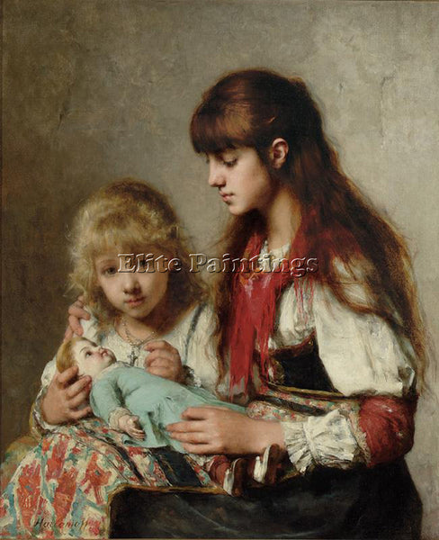 ALEXEI ALEXEIVICH HARLAMOFF SISTERS ARTIST PAINTING REPRODUCTION HANDMADE OIL
