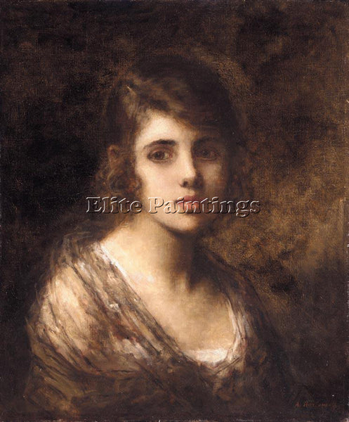ALEXEI ALEXEIVICH HARLAMOFF YOUNG BRUNETTE ARTIST PAINTING REPRODUCTION HANDMADE
