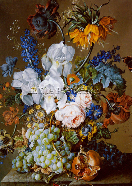 HARTINGER ELABORATE FLORAL STILL LIFE POMEGRANATE GRAPES BUTTERFLIES OIL CANVAS