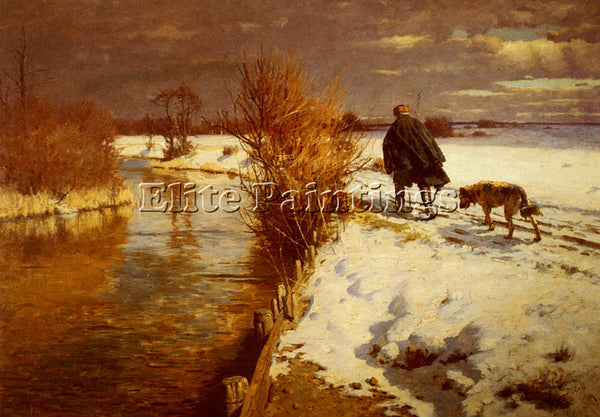 AMERICAN HARTWICK HERMANN A HUNTER IN A WINTER LANDSCAPE ARTIST PAINTING CANVAS