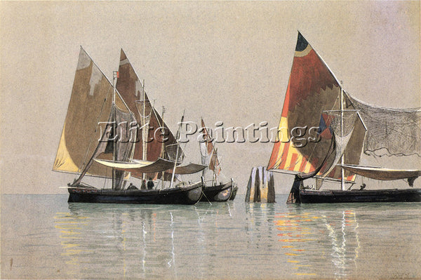 WILLIAM STANLEY HASELTINE ITALIAN BOATS VENICE ARTIST PAINTING REPRODUCTION OIL