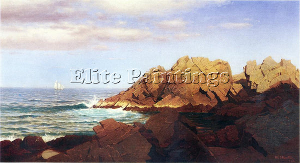 WILLIAM STANLEY HASELTINE ROCKS AT NAHANT ARTIST PAINTING REPRODUCTION HANDMADE