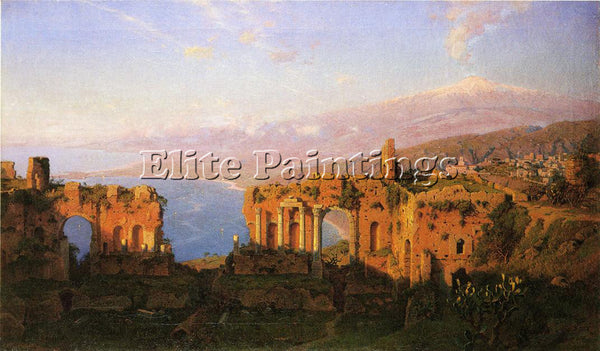 WILLIAM STANLEY HASELTINE RUINS OF THE ROMAN THEATRE AT TAORMINA SICILY PAINTING