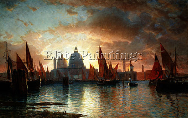 WILLIAM STANLEY HASELTINE SANTA MARIA DELLA SALUTE SUNSET ARTIST PAINTING CANVAS