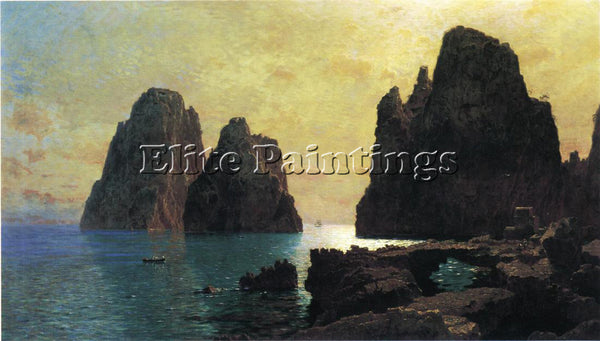 WILLIAM STANLEY HASELTINE THE FARAGLIONI ROCKS ARTIST PAINTING REPRODUCTION OIL