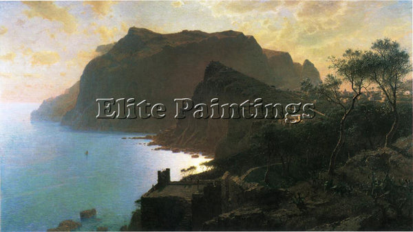 WILLIAM STANLEY HASELTINE THE SEA FROM CAPRI ARTIST PAINTING HANDMADE OIL CANVAS